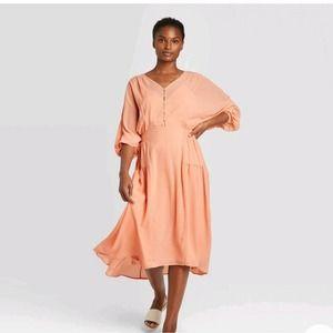 NEW Prologue Peach Dolman Long Sleeve Shirtdress